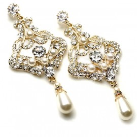 Gold Pearl Bridal Chandelier Earrings