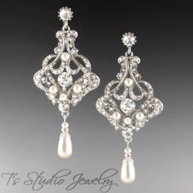 Long Pearl Bridal Chandelier Earrings Silver Clear Crystal Rhinestones
