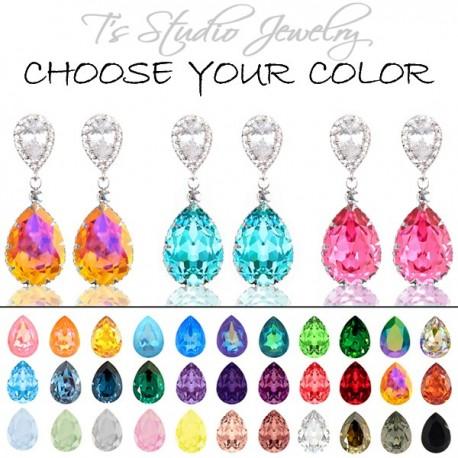 Jewel Tone Crystal Bridesmaid Earrings Silver Teardrop Pear Shaped