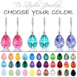 Silver Teardrop Crystal Bridesmaid Earrings