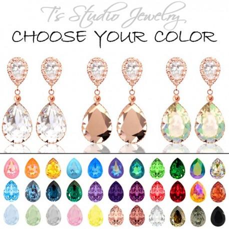 Teardrop Pear Shaped Crystal Bridesmaid Earrings