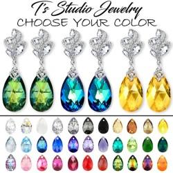 Jewel Tone Crystal Bridesmaid Earrings