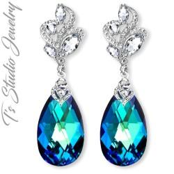 Marine Aqua Blue Bridesmaid Earrings