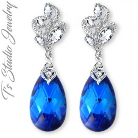 Cobalt Sapphire Blue Bridesmaid Earrings
