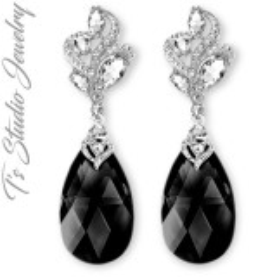 Classic Black Dark Grey Bridesmaid Earrings