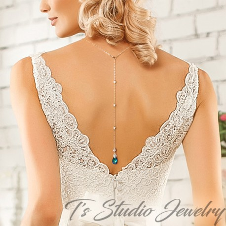 Blue Crystal Back Drop Lariat Bridal Necklace & Earrings Set
