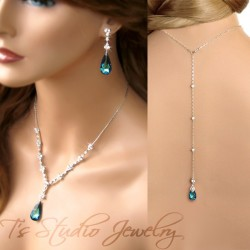 Back Drop Lariat Bridal Necklace & Earrings Set