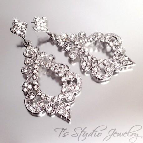 Hoop Style CZ Crystal Pave Bridal Chandelier Earrings