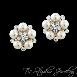 Classic Pearl and Crystal Bridal Stud Earrings