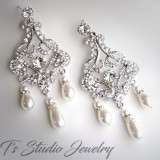 Long Pearl Rhinestone Bridal Chandelier Earrings