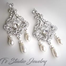 Long Pearl Rhinestone Bridal Chandelier Earrings