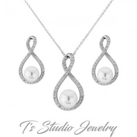 Infiniy CZ and Pearl Necklace & Earrings Set