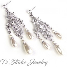 Vintage Style Rhinestone Crystal and Pearl Chandelier Bridal Earrings