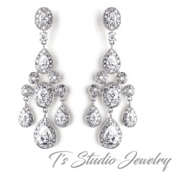 Elegant CZ Crystal Bridal Chandelier Earrings