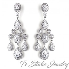 Elegant CZ Crystal Bridal Chandelier Bridal Earrings