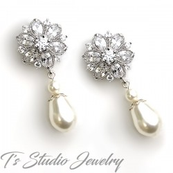Cubic Zirconia Crystal Flower Earrings with Teardrop Pearls