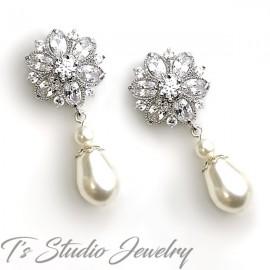 Cubic Zirconia Crystal Flower Bridal Earrings with Teardrop Pearl