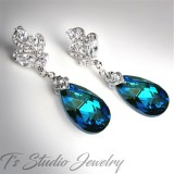 Crystal Peacock Blue Teardrop Earrings