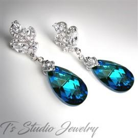 Crystal Peacock Blue Teardrop Earrings