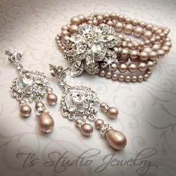 Vintage Theme Pearl Bridal Bracelet & Earrings