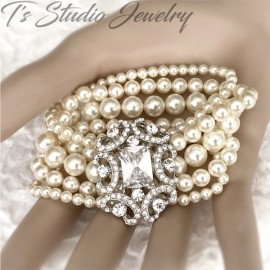 Pearl Cuff Bridal Bracelet with Crystal Rhinestone Focal
