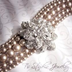 Vintage Theme Pearl Bridal Cuff Bracelet