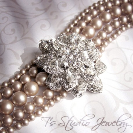 Vintage Theme Champagne Pearl Bridal Cuff Bracelet