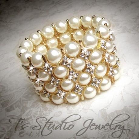 Gold 4-Strand Pearl Cuff Bridal Bracelet