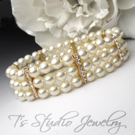 Three Strand Ivory Pearl Bracelet with Gold Rhinestone Spacers