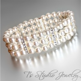 Three Strand Ivory Pearl Bracelet with Silver Rhinestone Spacers