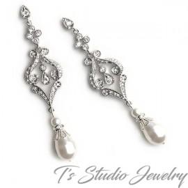 Vintage Style Teardrop Pearl Bridal Chandelier Earrings