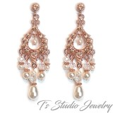 Rose Gold Pearl Bridal Chandelier Earrings