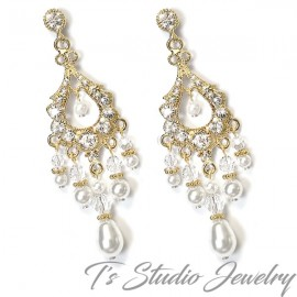Gold Pearl and Crystal Bridal Chandelier Earrings
