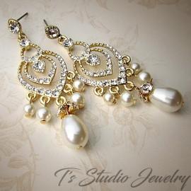 Gold Bridal Earrings with Teardrop Pearls