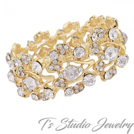 Crystal Rhinestone Gold Bridal Bracelet