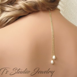Pearl Backdrop Lariat Bridal Necklace