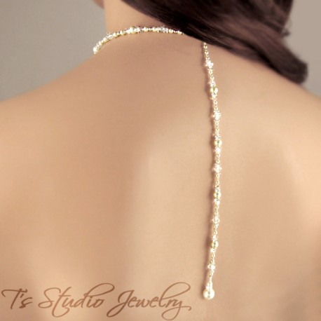 Back Drop Lariat Pearl Bridal Necklace