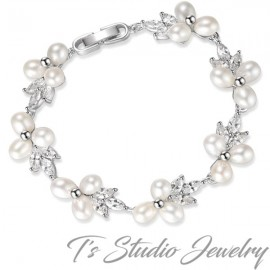 Freshwater Pearl and Crystal Bridal Bracelet