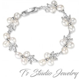 Freshwater Pearl and CZ Crystal Bridal Bracelet