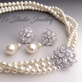 Pearl Bridal CZ Necklace & Earrings Set