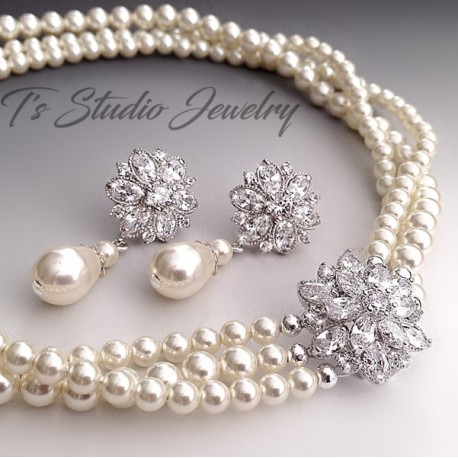 Pearl Bridal Necklace with Crystal Flower Accent