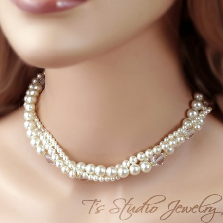 3-Strand Pearl & Crystal Bridal Necklace