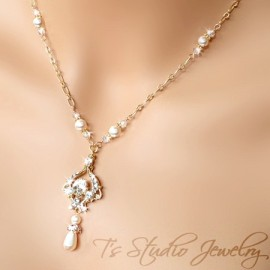 Pearl & Gold Chain Bridal Necklace
