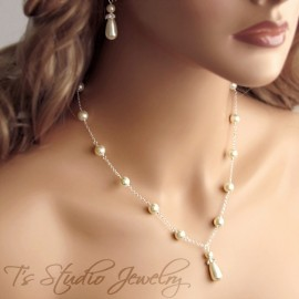 Teardrop Pearl Back Drop Lariat Bridal Necklace
