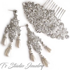 Vintage Crystal and Pearl Bridal Earrings & Hair Comb