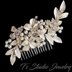 Gold Pearl & Rhinestone Flower Leaf Hair Comb