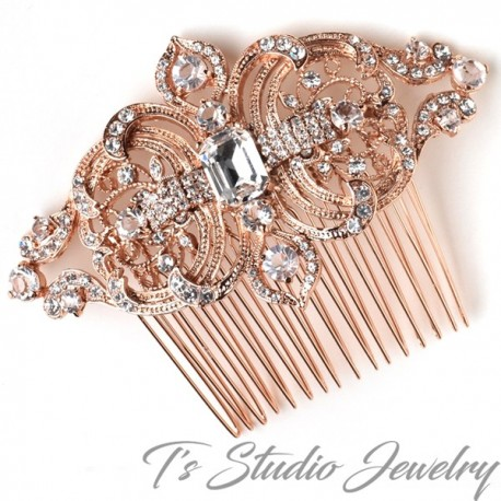 Rose Gold Clear Rhinestone Hair Comb