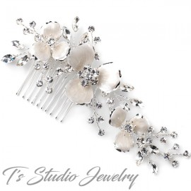 Enameled Flower Bridal Wedding Hair Comb