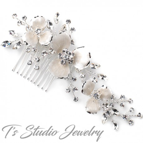 Enameled Flower Bridal Wedding Hair Comb