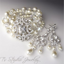 Pearl and Crystal Bridal Bracelet & Earrings Set